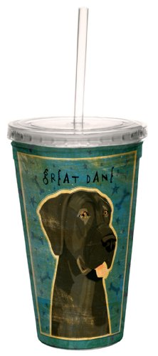 Tree-Free Greetings cc34069 Black Great Dane-No Crop by John W. Golden Artful Traveler Double-Walled Cool Cup with Reusable Straw, (Great Dane Merchandise)