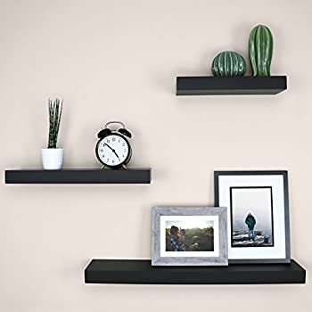 "Ballucci Block Floating Wall Ledge, 12"", 16"", 24"", Set of 3, Black"