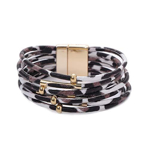 - Lovhop Leopard Leather Memory Wire Bracelet Multilayer Wrap Wide Bracelet Women Jewelry