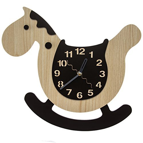 Childs Natural Wood Rocking Horse - Rocking Horse Baby Nursery Wall Clock w/ Swinging Pendulum Rocker