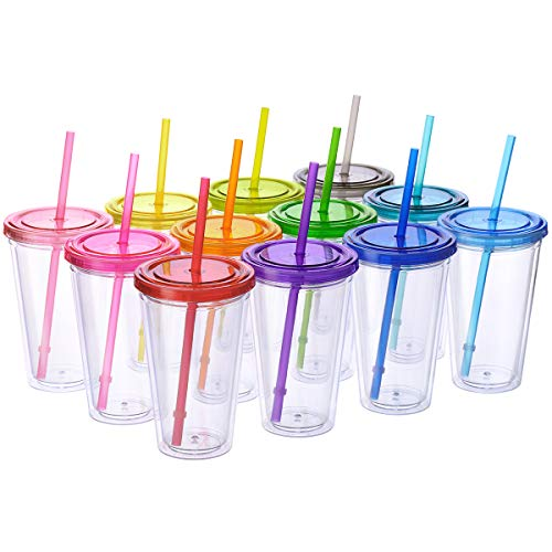 Cupture Classic Candy Insulated Tumbler Cup with Lid, Reusable Straw & Hello Name Tags – 16 oz, 12 Pack (Blue, Orange, Pink, Red, Purple, and Green)