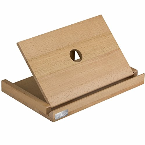 h Wood Tablet Holder and Cookbook Stand, Luxurious Italian Collection by Master Craftsmen, Ecofriendly, Natural Finish ()