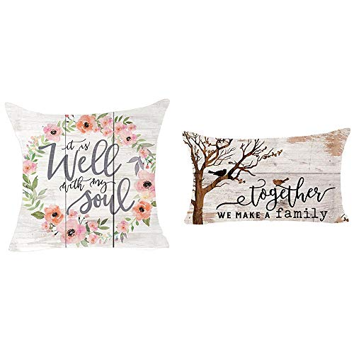 Queen's designer Hello Spring Saying It is Well with My Soul Together We Make A Family Bird Flower Wood Grain Watercolor Pillowcase Cotton Throw