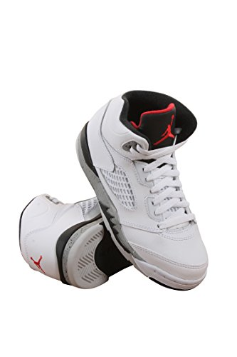 Jordan Retro 5 ''Cement'' White/University Red-Black (Little Kid) (11.5 M US Little Kid) by Jordan