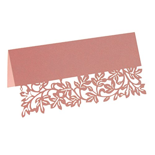 UNIQLED Pack of 60 Paper Laser Cut Leaves Wedding Table Numbers Place Card Escort Name Cards for Wedding Party Decoration (Pink)