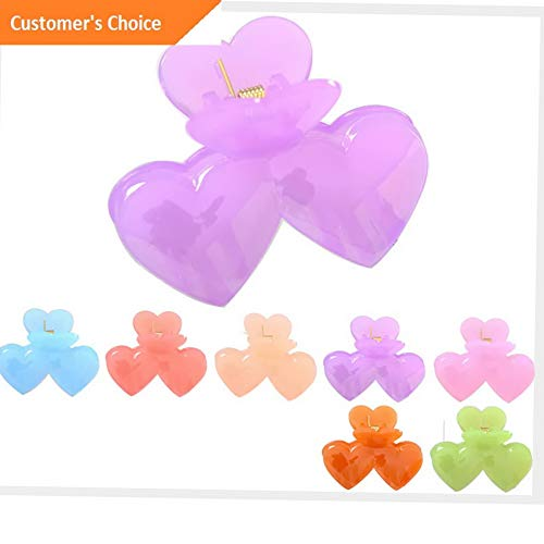Sandover Plastic Double Heart Claw Clamp Clips Hairpins Women Hair Accessories For Makeup   Model HRPN - 8275  