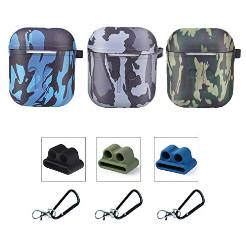 Camo Case Cover - Airpods Case Cover, Applestore Earpods Case Protective Cover Silicone Skin, 3 Pack AirPods Case 9 in 1 AirPods Accessories with Keychain Holder for Apple Earpods AirPods Charging Case (Camouflage)