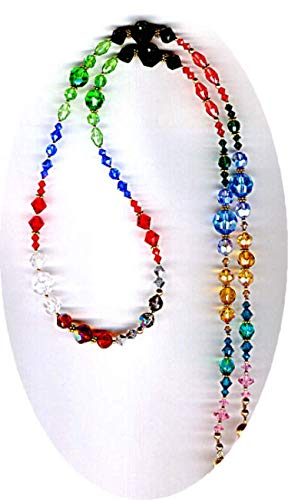 Elegant All Swarovski Large & Vintage Faceted Crystals Beaded ID Badge Lanyard or Eyeglass Chain