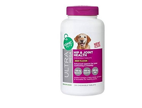 - GNC Pets Big Bottle Ultra Mega Hip and Joint Health Chewable Tablets Beef Flavor Senior Dogs Advanced Support for Joint Cushioning and Mobility 120 Chewable Tablets