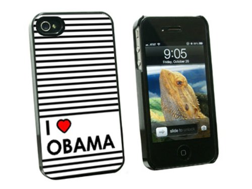 Graphics and More I Love Heart Obama - Snap On Hard Protective Case for Apple iPhone 4 4S - Black - Carrying Case - Non-Retail Packaging - Black