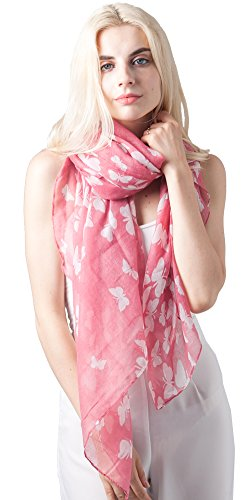 MissShorthair Womens Floral Scarves Butterfly
