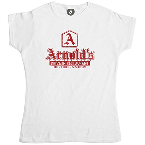 Arnolds Drive Through Fitted Womens T Shirt - White - XL (14-16)