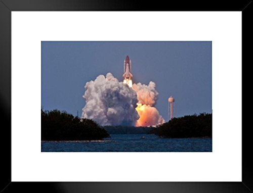 Launch Photo - Poster Foundry Space Shuttle STS 125 Clears The Tower Launch Photo Art Print Matted Framed Wall Art 26x20 inch