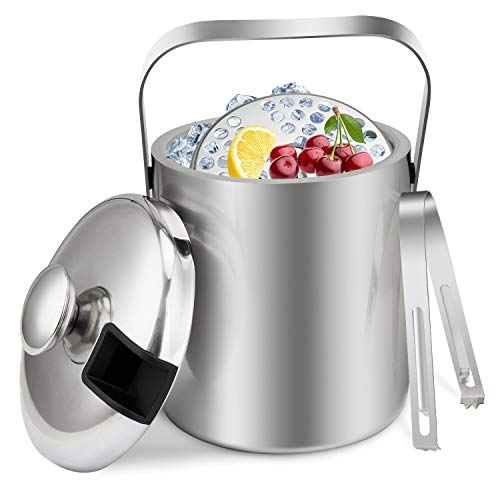 Widousy Insulated Double Walled Stainless Steel Ice & Wine Bucket with Tongs & Lid (1.3L) – Portable Chiller Bin Basket for Parties, BBQ & Buffet, Silver