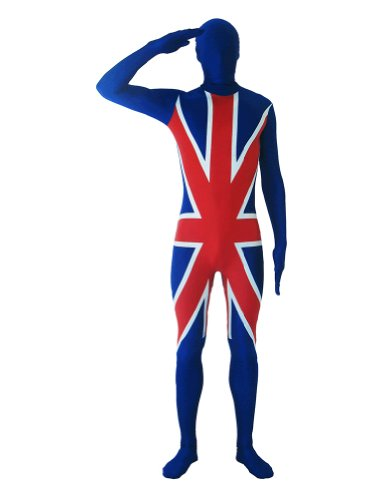 SecondSkin Men's Full Body Spandex/Lycra Suit with Uk World Flag Design, Multi, Large