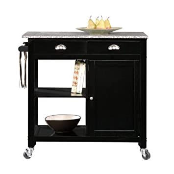 Better Homes and Gardens Kitchen Cart, Black Granite