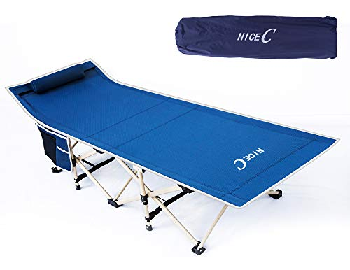 Nice C Camping Cot, Camping Bed, Tent Cot, Foldable with Carry Bag & Storage Bag, Heavy Duty Outdoor, Camping, BBQ, Beach, Travel, Picnic, Festival (Dark Blue) (The Best Travel Cot)