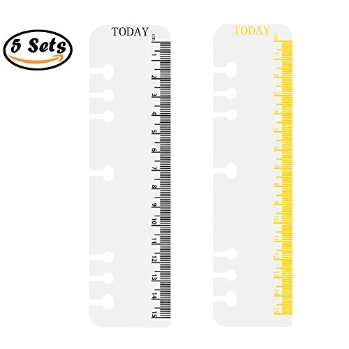 Rancco 10 Pcs Plastic Ruler/Snap-in Plastic Bookmark Dividers, Clear/Black Insertable Index Page Measuring Today Ruler for A5 Binder Filofax Planner, Notebook (Measures Bookmark)