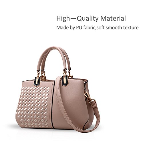 Women Bag Handbags Bag amp;DORIS Khaki amp;White Satchel Black PU Lady Purse a Crossbody NICOLE Tote Leather Shoulder wX5qC0t