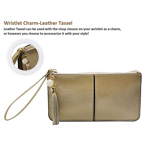 Befen Soft Leather Wristlet Phone Wristlet Wallet Clutch with Wrist Strap/Card slots/Cash pocket- Fit iPhone 6S Plus/Samsung Note 5 – Light Gold by befen (Image #4)