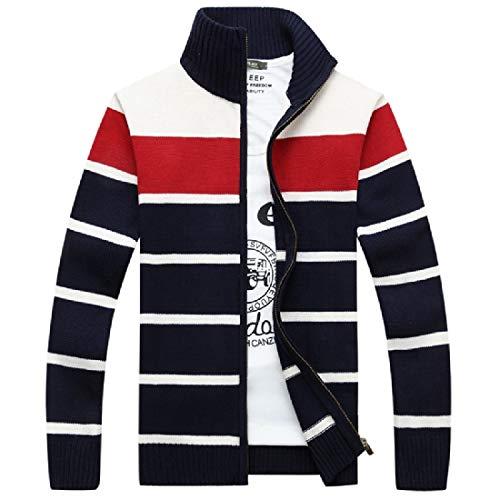 Abetteric Men Mandarin Collar Tri-Color Stripe Knit Full-Zip Long-Sleeve Coat AS1 XS