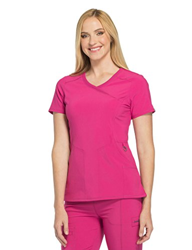 - Cherokee Infinity' Mock Wrap Top w/Antimicrobial' Scrub Top Power Berry Small