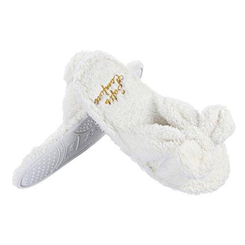 Sur Arc Toison Chaussons Doux Chaussures Intérieur Accueil Mignonne Confortable Femmes White Glisser IR71qnx