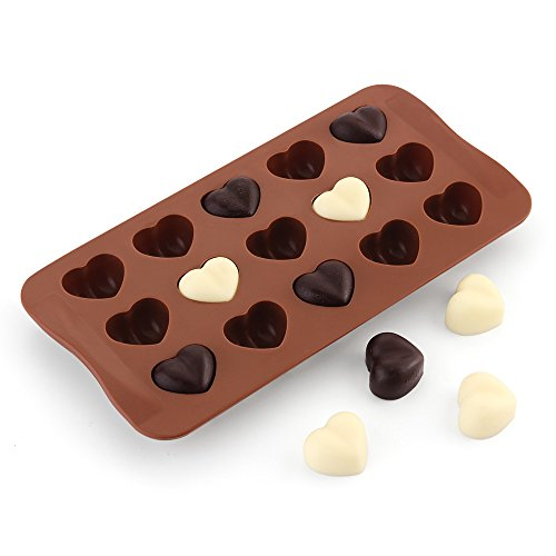 Sweet Gift for Lover, Child, 15 Cavity Hearts Shape Silicone Candy & Chocolate Molds , Ice Cube Tray, Cookie, Jerry, Pudding, Soap Molds, DIY Backing Tool -Food Grade Silicone, BPA & PVC Free, Brown (Shape Silicone)