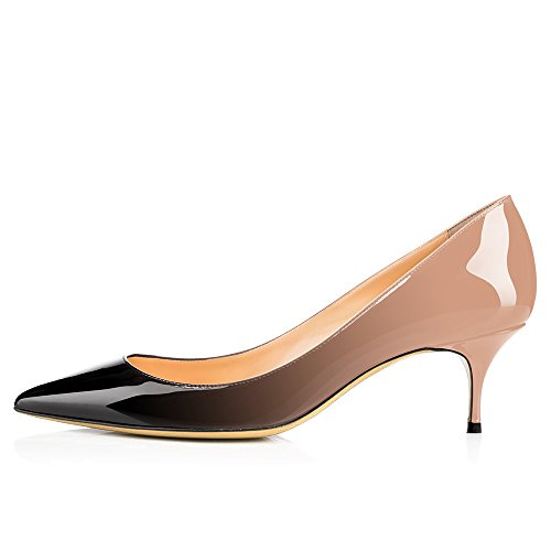 a970b125792 chic Modemoven Women s Patent Leather Pointed Toe Kitten Heels Gorgeous  Pumps Evening Stiletto Shoes 5.5CM