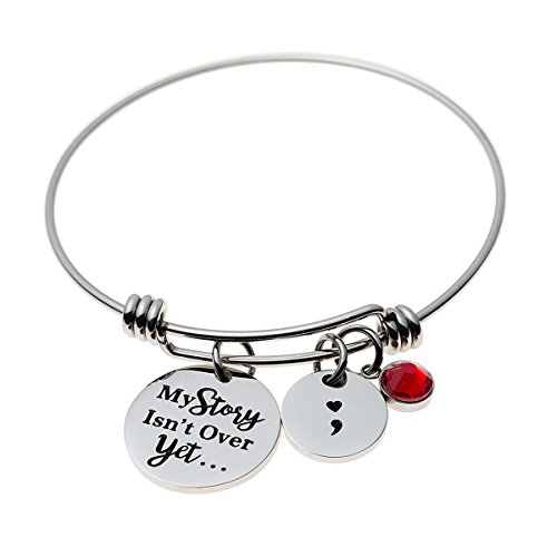[Jewelady Semicolon Bangle Stainless Steel Expandable Bracelet with Words Charm Depression Awareness (My Story Isn't Over Yet)] (Expandable Stainless Steel Bracelet)