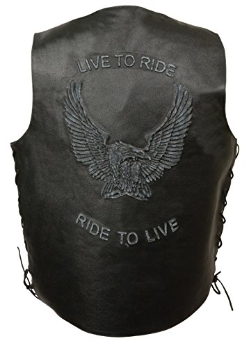 Event Men's Motorcycle Side Lace Blk Leather Vest W/Live To Ride Embossed On - Embossed Vest Leather
