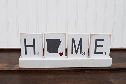 Large Scrabble Tiles, State Wooden Sign, Wood Scrabble Tiles set