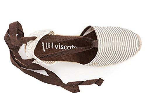 Viscata Escala 2,5 Kile, Blød Ankel-tie, Lukket Tå, Klassisk Espadriller Hæl Fremstillet I Spanien Beige Hvid Stribe