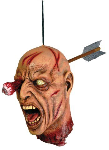 Forum Novelties 63386 Arrow Through Severed Head Zombie Hanging Property, Multicolored -