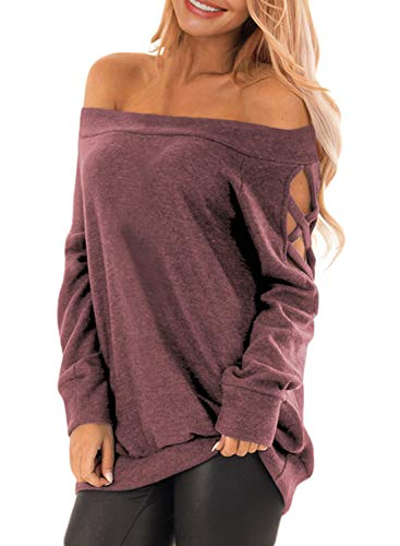 Sweater Strapless (Asvivid Womens Off The Shoulder Long Sleeve T-Shirt Autumn Criss Cross Strappy Shoulder Sweatshirt Tops Plus Size 1X Red)