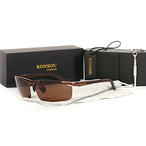 Ronsou Men Sport Aluminium-Magnesium Polarized Sunglasses For Driving Cycling Fishing Golf brown - Target Case Sunglasses