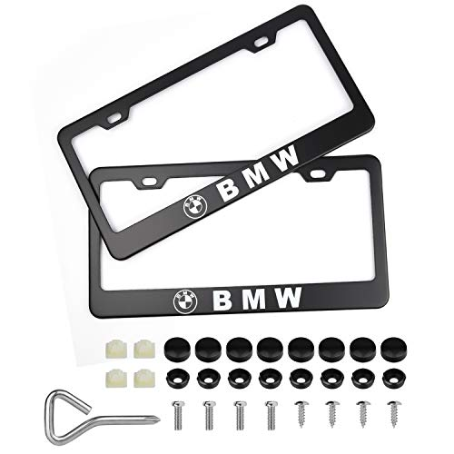 Ldntly 2pcs License Plate Frames,Newest Matte Aluminum Alloy License Plate Frame with Screw Caps Cover Set Suit to US Standard Cars License Plate Fit BMW ()