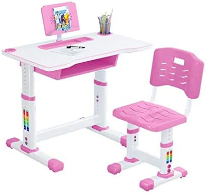 UPDD Kids Desk Table and Chair Set Height Adjustable Children Study Desk Table Chair Drawing Set Bookstand Writing Tables Bookstand and Storage Drawer Kids Functional Desk Pink
