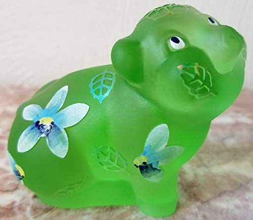Fenton Green Sand Carved Solid Glass Pig - Rosso OOAK USA