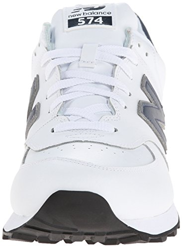 New Balance hombres NB574 Leather Collection Classic Running zapatos, blanco/verde, 11 D US Blanco - Weiß Navy