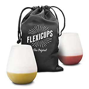 Flexicups Silicone Camping Wine Glasses 12 Oz Set of 2 Shatterproof and Lightweight with Handy Carry Bag Perfect Cups for Picnics and Outdoor Parties