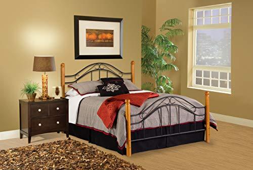 Hillsdale Furniture Winsloh Bed Set With Rails, Queen, Medium Oak (Wood Bedroom Iron Furniture)