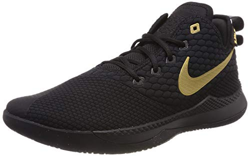 Nike Men's Lebron Witness III Basketball Shoes Black/Metallic Gold, Size 13 ()