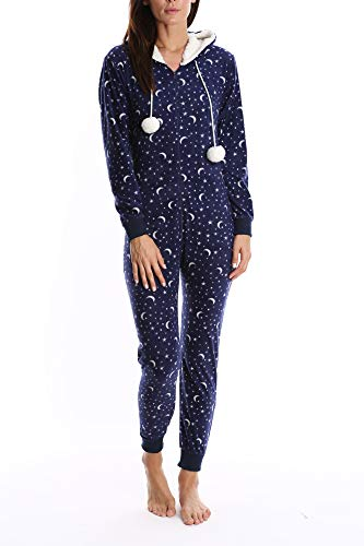 Nomad Women's Fleece Onesie - Hooded Zip Up One Piece Pajamas & Sleepwear - Tossed Dreamer, -