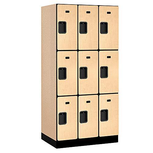 Salsbury Industries 3-Tier Designer Wood Locker with Three Wide Storage Units, 6-Feet High by 21-Inch Deep, Maple,