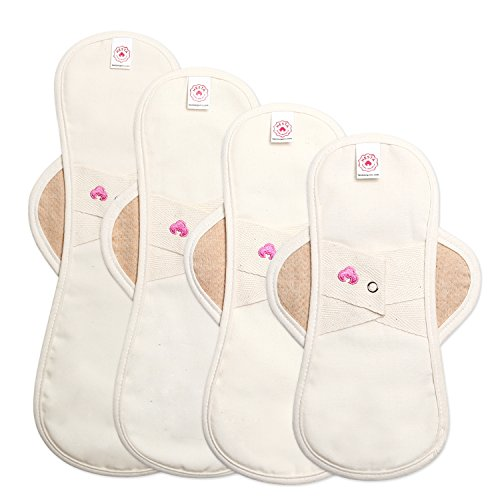 Hesta FDA Registered Organic Reusable Cloth Natural Sanitary/Menstrual Pads,Starter Value Kits PMS Relief (4Pads/Brown) by Hesta