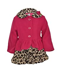 Mack & Co Girl's Rosette Ruffle Sorf Fleece Coat Leopard/Hot Pink (4T)