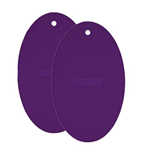 """Oval Gourmet Plate - Cuisinart Multipurpose 8x13"""" Oval Flexible Silicone Kitchen Tool, Trivet/Pot Holder, Spoon Rest, Jar Opener, Coaster, Heat Resistant Pad (up to 500 degrees F) Purple 2pk"""