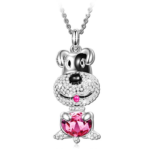 LADY COLOUR Animal Necklace for Daughter Granddaughter Gifts Present Lucky Dog Puppy Pendant Ruby Swarovski Crystals Annimal Jewelry for Women Her Christmas Birthday Gifts for Teens Girls Girlfriend (Necklace Swarovski Crystal Dog)
