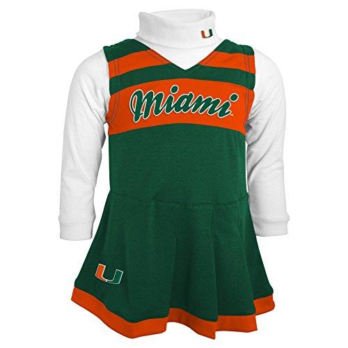 NCAA Miami Hurricanes Girls 4-6X Turtleneck Cheer Jumper Dress, Large (6X), Hunter (Infant Cheer Jumper)